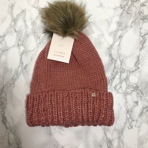 LC Rose Gold Solid Slubbed Knit Yarn Beanie Hat